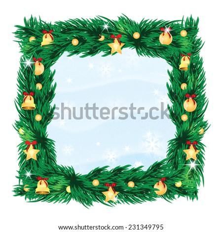 Christmas and New Year background with Christmas tree and Christmas decorations  - stock vector
