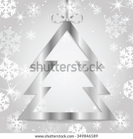 Christmas and New Year background with Christmas tree and snowflakes. Poster for New Year with Christmas decorations - stock vector