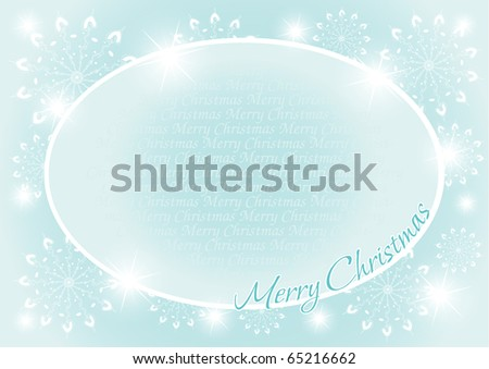 Christmas and New Year background with oval Frame and snowflakes