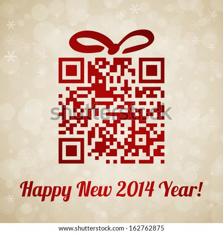 Christmas and New Year background with QR code - stock vector