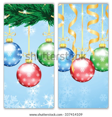 Christmas and New Year backgrounds with Christmas tree and Christmas decorations .Christmas and New Year banners - stock vector