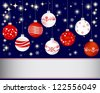 Christmas and new year banner with Christmas ball and snowflakes. Vector illustration. - stock vector
