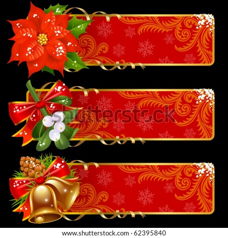 Christmas and New Year banners - stock vector