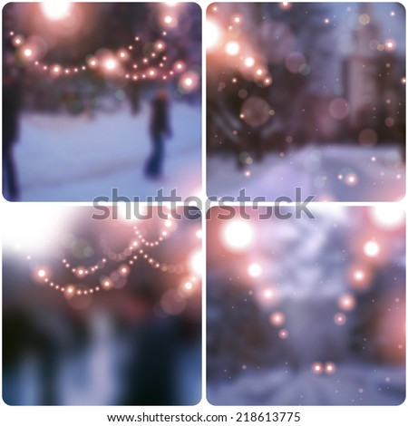 Christmas and New Year banners backgrounds. Vector illustration. Blurred background. Snowy evening street with lights garlands. Wallpaper.  - stock vector