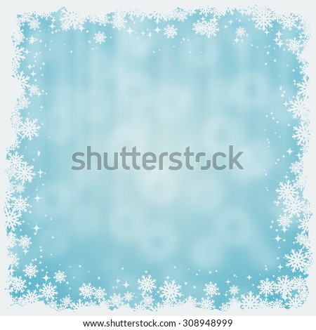 Christmas and New Year blue blurry vector background with stars and snowflakes - stock vector