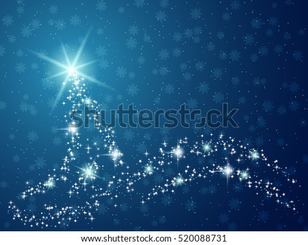 Christmas and New Year blue vector background with abstract shining fir tree