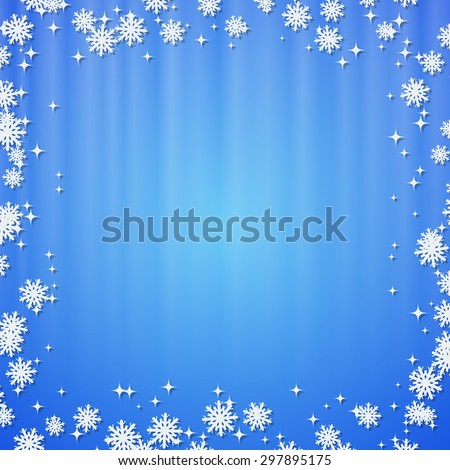 Christmas and New Year blue vector background with stars and snowflakes - stock vector