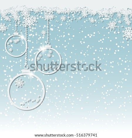 Christmas and New Year blue vector background with white paper balls, stars and snowflakes