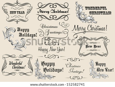 Christmas and New Year calligraphic headlines for holiday design. Jpeg version also available in gallery