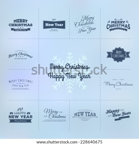 Christmas and New year calligraphy set - stock vector