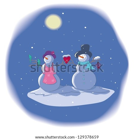 Christmas and New Year card template with two snowmen in love - stock vector