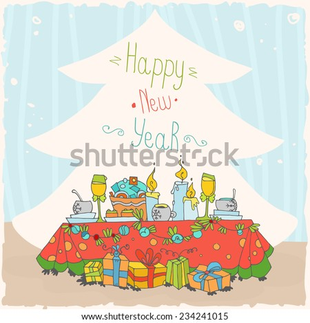 Christmas and New Year card with a festive meal - stock vector