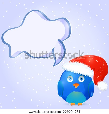 Christmas and New Year Card with Bird