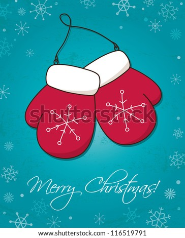 Christmas and New Year card with mittens - stock vector
