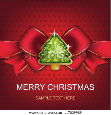 Christmas and New Year. Christmas background with Christmas tree. vector illustration. - stock vector