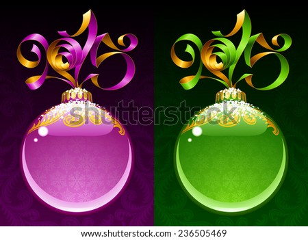 Christmas and New Year circle frame. Vector ribbon in the shape of 2015 and glass ball. Purple and green - stock vector