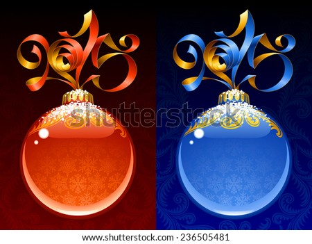 Christmas and New Year circle frame. Vector ribbon in the shape of 2015 and glass ball. Red and blue - stock vector