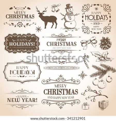 Christmas and New Year decoration collection. Vector set of calligraphic labels, hand drawn decorations, stickers, elements and emblems. - stock vector