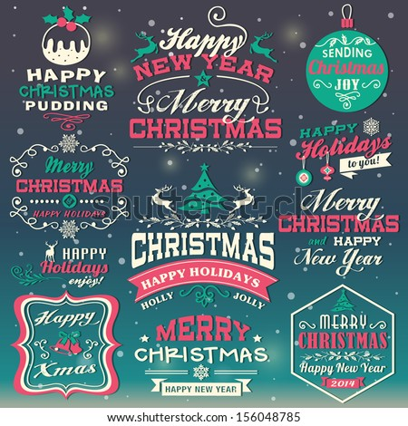 Christmas and New Year design elements - stock vector