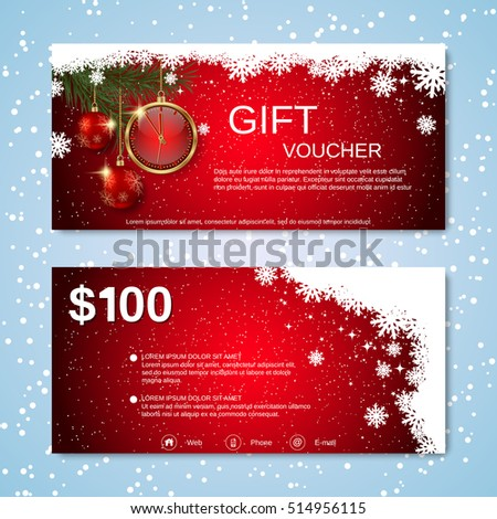Christmas and New Year discount coupon vector template