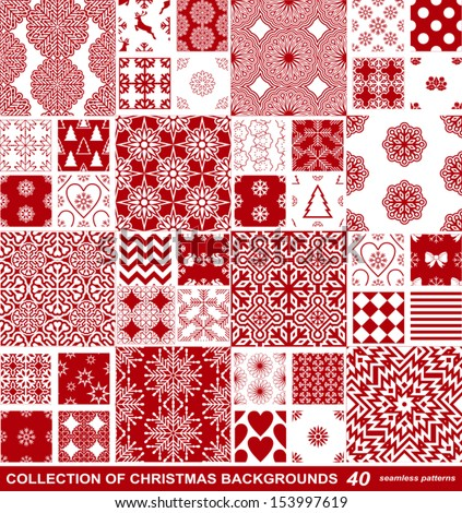 Christmas and New Year festive backgrounds collection, xmas creative, retro seamless patterns, beautiful art fabrics, fantasy vector wallpapers with red and white artistic christmas symbols for design - stock vector