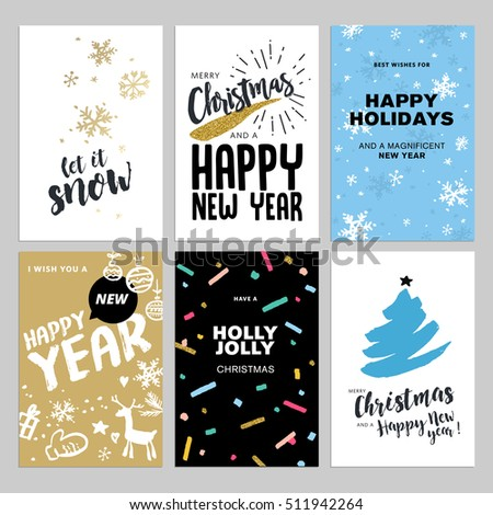 Christmas new year flat design greeting stock vector hd royalty christmas and new year flat design greeting cards set hand drawn vector illustrations for greeting m4hsunfo Image collections