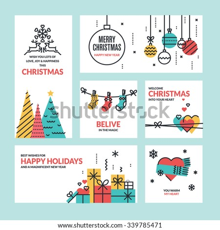 Christmas and New Year flat line design collection for greeting cards, website banners and badges, marketing material. - stock vector