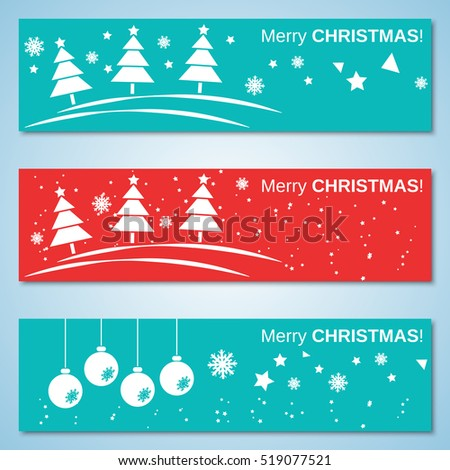 Christmas and New Year flat vector banners collection