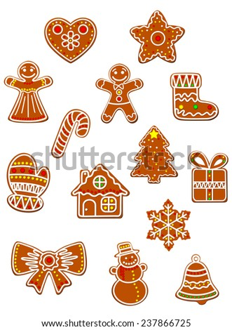 Christmas and New Year gingerbread cookies set with gingerbread man, bow, gift box and sock, star and candy decorated colored sugar glaze for holiday design - stock vector
