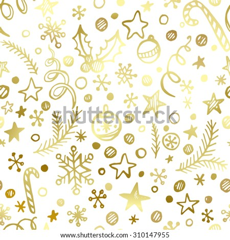 Christmas and New Year golden seamless pattern EPS 10 - stock vector
