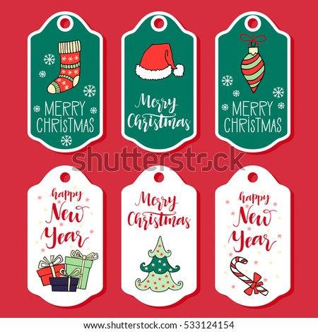 Christmas new year greeting card collection stock vector 2018 christmas and new year greeting card collection with hand drawn lettering holiday design elements for m4hsunfo Images