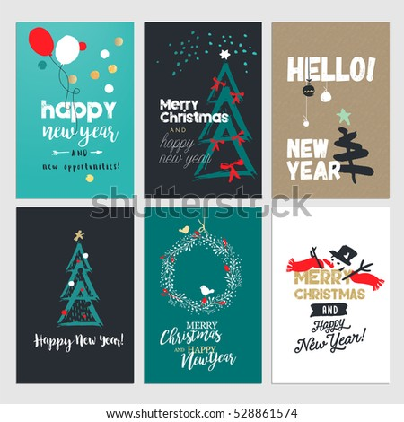 Christmas new year greeting card concepts stock vector hd royalty christmas and new year greeting card concepts set od flat design vector illustrations for greeting m4hsunfo
