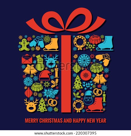 Christmas and New Year greeting card template with a selection of coloruful seasonal silhouette icons arranged in the shape of a Xmas gift box with ribbon with text below - stock vector