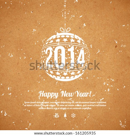 Christmas and New Year 2014 greeting card. Vector illustration. Textured background. Wrapping paper. Cardboard with rough structure. Old paper, inaccurate printing. Wallpaper.  - stock vector