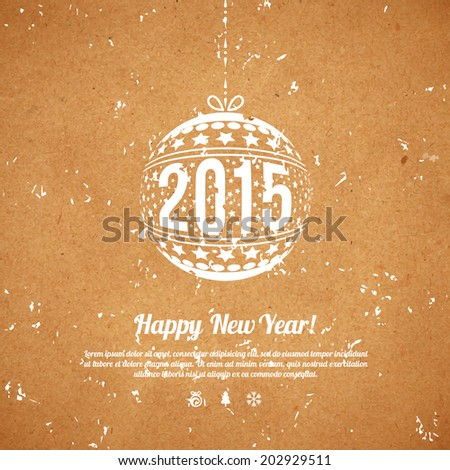 Christmas and New Year 2015 greeting card. Vector illustration. Textured background. Wrapping paper. Cardboard with rough structure. Old paper, inaccurate printing. Wallpaper. - stock vector