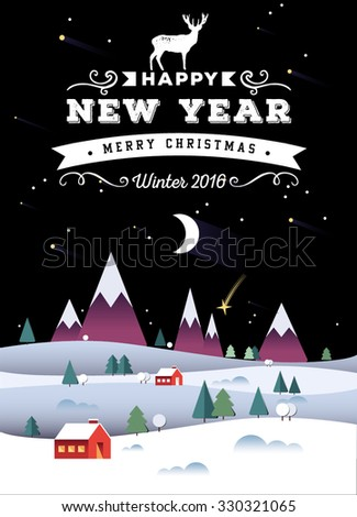Christmas and New Year greeting card. Vector illustration. Typography, calligraphy. Snowy background. Vintage label, emblems and other decorative elements. Retro invitation.  - stock vector