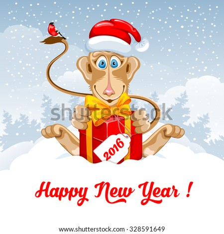 Christmas and New Year greeting card with cheerful monkey in Santa hat with big gift on snowy winter landscape. Monkey - symbol of year 2016. Vector illustration. - stock vector