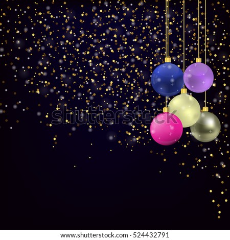 Christmas and new year Greeting card with Gold glitter on dark blue background and Christmas balls
