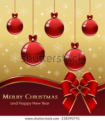 Christmas and New Year greeting card with red Christmas balls.