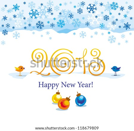 Christmas and New Year greeting card 2013 year with birds and snowflakes - stock vector
