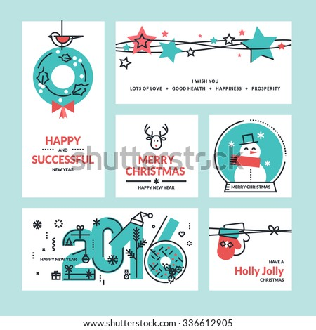 Christmas and New Year greeting cards and banners. Set of flat line design vector illustrations. - stock vector
