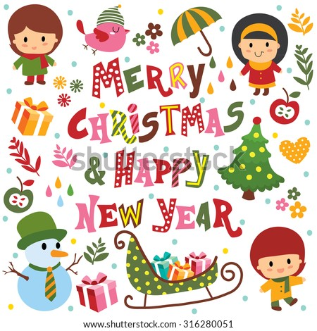 christmas and new year greeting elements set - stock vector