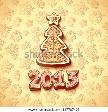 Christmas and New Year greetings card with christmas tree made from gingerbread - stock vector