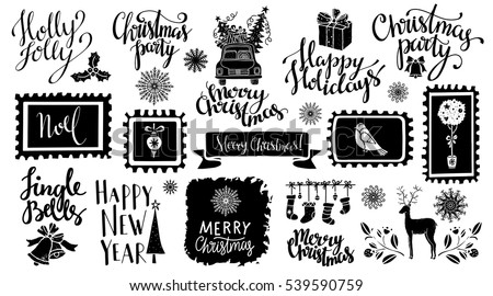 Christmas and New year hand drawn, scrapbooking design elements, icons set isolated on white background. Hand written font, lettering. Vector design