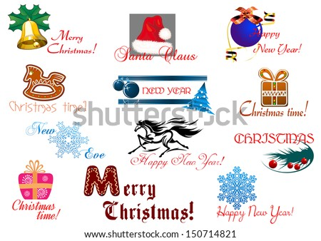 Christmas and New year holiday elements with headlines. Bitmap (jpeg) version also available in gallery - stock vector