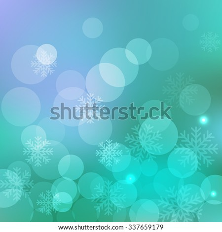 Christmas and New Year holidays blue background bokeh effect with defocused lights and snowflakes. Vector illustration EPS10 - stock vector