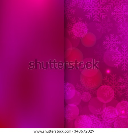 Christmas and New Year holidays purple Background bokeh effect with defocused lights and snowflakes. Vector illustration EPS10 - stock vector