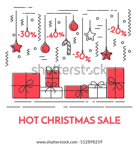 Christmas and New Year horizontal banner with gifts, decoration, discounts. Flat line art style vector illustration. Concept for winter, Christmas, New Year discount poster, business card, sales flyer