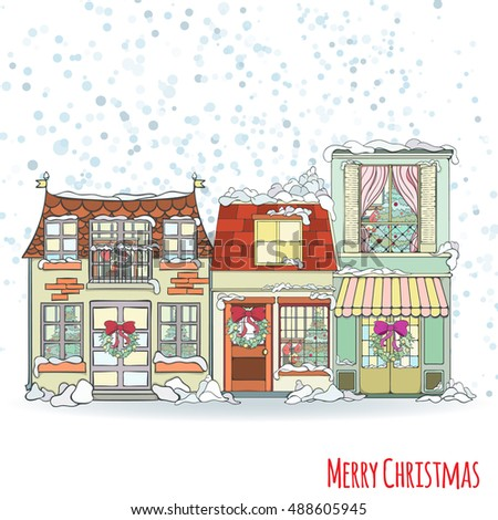 Christmas new year house invitation card stock vector 483363976 christmas and new year house invitation card hand drawn city vector illustration of winter decorated stopboris Images