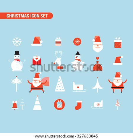 Christmas and New Year icon set Holiday Santa Claus Snowman - stock vector